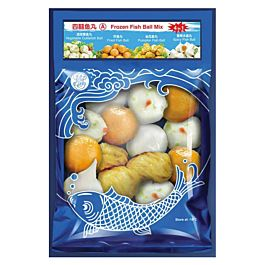 乐乐厨 四喜鱼丸 A(香辣水晶丸 金瓜鱼丸 蔬菜墨鱼丸 炸鱼丸)300g 冷冻食品 介意慎拍
